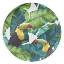 Toucans Tropical Banana Leaves Pattern Melamine Plate