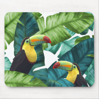 Toucans Tropical Banana Leaves Pattern Mouse Pad