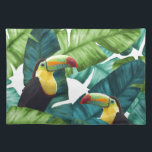 """Toucans Tropical Banana Leaves Pattern Placemat<br><div class=""""desc"""">This is a beautiful Toucans Tropical Banana Leaves pattern that will bring a lot of distinction and style to your items. This original Toucans Tropical Banana Leaves pattern is like no others and will make your items stand out.</div>"""