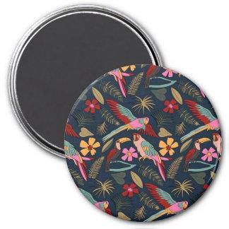 Toucans y loros imán redondo 7 cm
