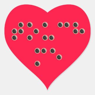 Touch Me Braille Heart Sticker
