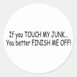 Touch My Junk Classic Round Sticker