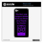Touch My Phone & There'll Be Trouble! Wiccan Skin Decals For iPhone 4S