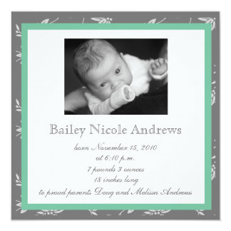 Touch of Class Green Birth Announcement