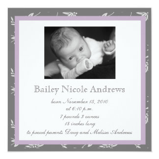 Touch of Class Purple Birth Announcement