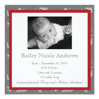 Touch of Class Red Birth Announcement