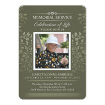 Touch of Gold Floral Memorial Service Photo Invite
