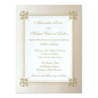 Touch of Gold on Ice Paper 6.5x8.75 Paper Invitation Card