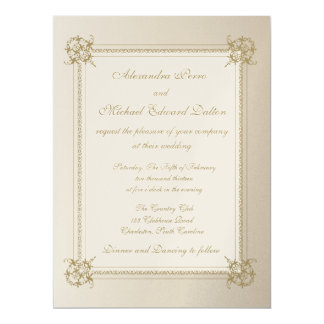 Touch of Gold on Metallic Gold Paper 6.5x8.75 Paper Invitation Card