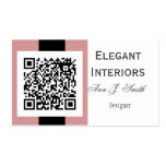 Touch of Pink Damask - QR code Double-Sided Standard Business Cards (Pack Of 100)