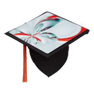 Touch of Red Floral Fractal Graduation Cap Topper