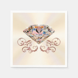 Touch of Rose Gold Diamond Napkins in 3 Sizes