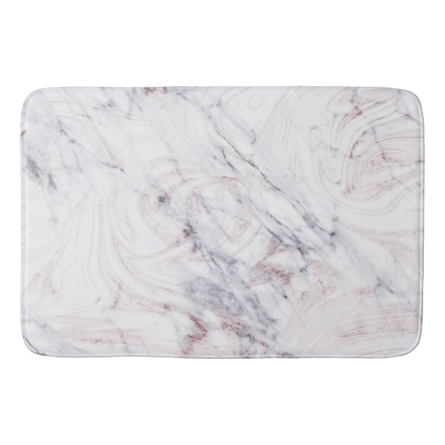 Touch Of Rose White Grey Marble Swirl Chic Trendy Bathroom Mat Zazzle Com