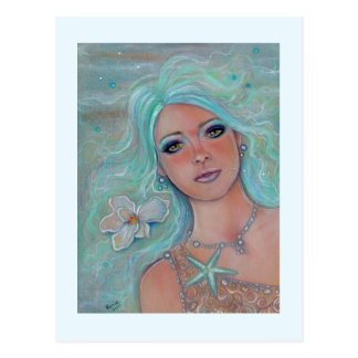 Touch of spring mermaid postcard by Renee Lavoie