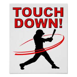 Touchdown Baseball Funny Poster
