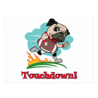 Touchdown Football Pug Tees and Gifts Post Cards