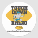 Touchdown Rhino Round Sticker