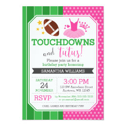 Girls tutu birthday party invitations announcements zazzle touchdowns and tutus birthday invitations filmwisefo Image collections