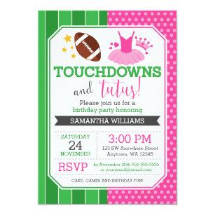 Girls tutu birthday party invitations announcements zazzle touchdowns and tutus birthday invitations filmwisefo
