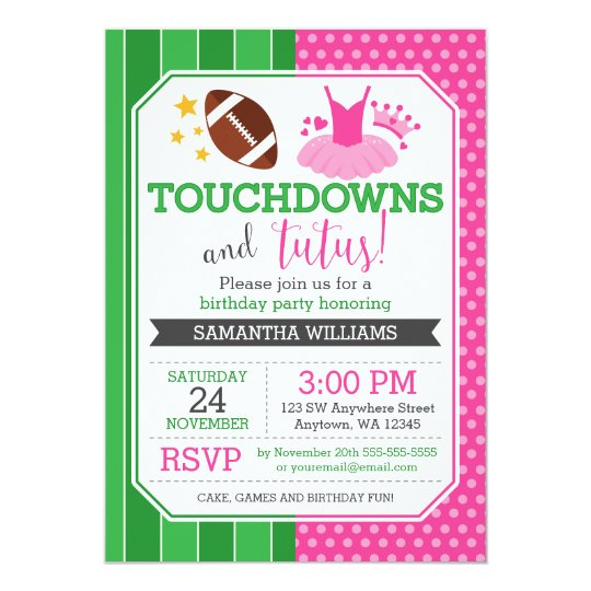 Touchdowns and tutus birthday invitations zazzle touchdowns and tutus birthday invitations filmwisefo