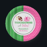 "Touchdowns and Tutus Birthday Party Paper Plate<br><div class=""desc"">Custom tutus and touchdowns themed birthday party paper plates.</div>"
