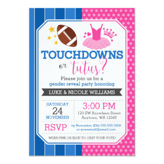 Touchdowns or Tutus Blue Pink Gender Reveal Party Card