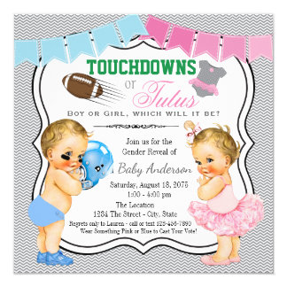 Touchdowns or Tutus Gender Reveal Invitation