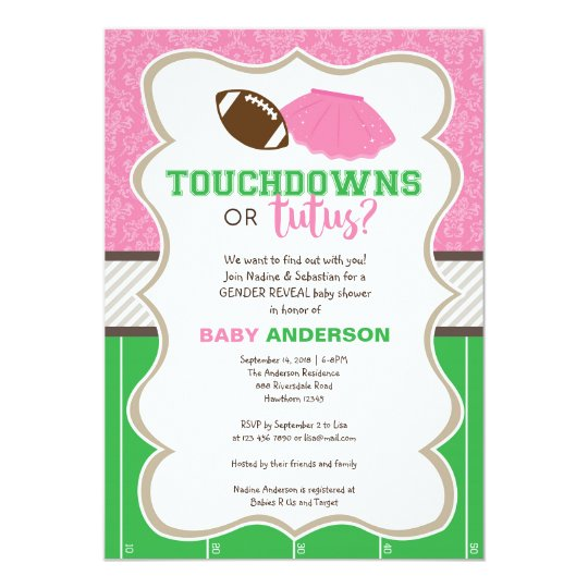 Touchdowns Or Tutus Gender Reveal Invitation Zazzle Com