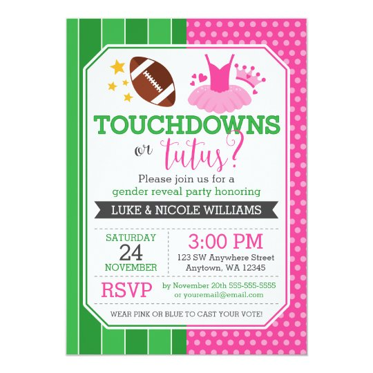 touchdowns or tutus gender reveal party card | zazzle, Party invitations