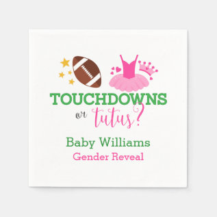 Touchdowns Or Tutus Gender Reveal Party Napkin at Zazzle