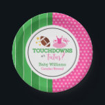 "Touchdowns or Tutus Gender Reveal Party Paper Plate<br><div class=""desc"">Throw a fun touchdowns or tutus themed gender reveal party using these paper plates.</div>"