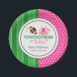 "Touchdowns or Tutus Gender Reveal Party Paper Plate<br><div class=""desc"">Throw a fun touchdowns or tutus themed gender reveal party using these paper plates.</div>"