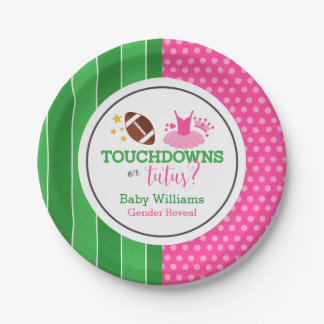 Touchdowns or Tutus Gender Reveal Party Paper Plate