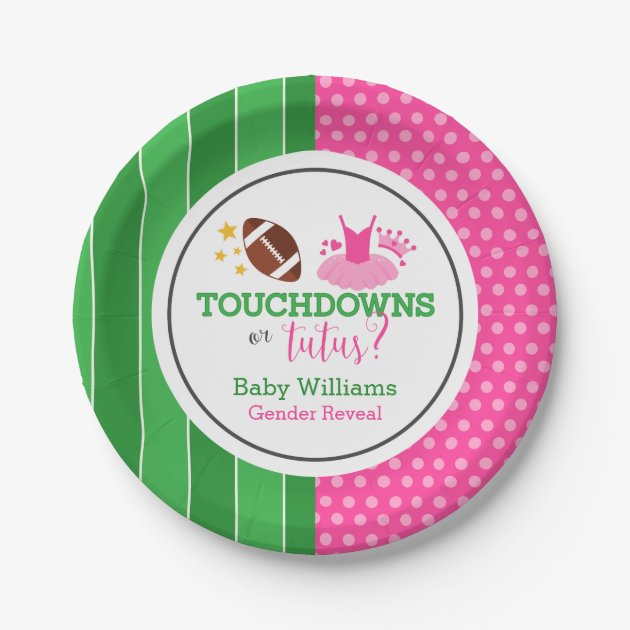 Touchdowns or Tutus Gender Reveal Party Paper Plate   Zazzle.com