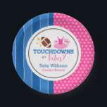 "Touchdowns or Tutus Pink Blue Gender Reveal Party Paper Plate<br><div class=""desc"">Cute pink and blue touchdowns or tutus themed gender reveal party paper plates.</div>"