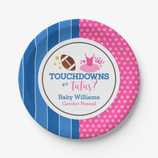 Touchdowns Or Tutus Pink Blue Gender Reveal Party Paper Plate at Zazzle