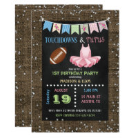 Touchdowns & Tutus Twins Birthday or Baby Shower Card