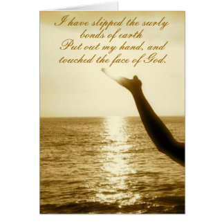 Touched the Face of God Inspirational Flight Poem Card