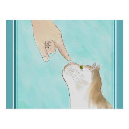Touching Kitty's Nose Postcard
