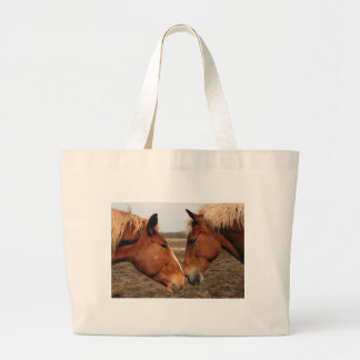 Touching noses large tote bag