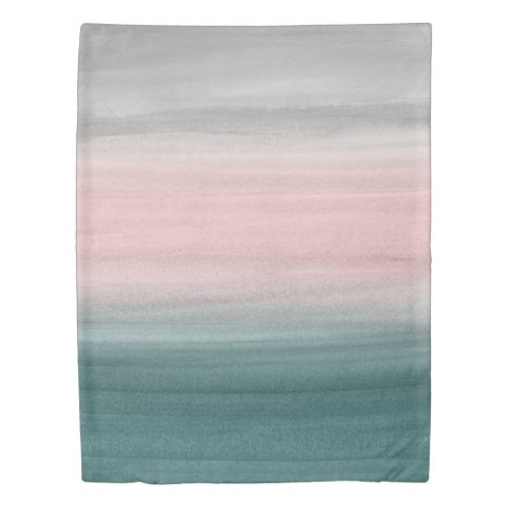 Touching Teal Blush Gray Watercolor Abstract #1 Duvet Cover