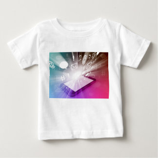 Touchscreen Smart Phone Downloading Apps and Cloud Baby T-Shirt