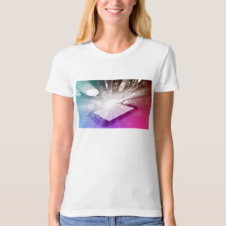 Touchscreen Smart Phone Downloading Apps and Cloud T-Shirt