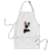 drawing, girl, punk, rock, yin, yang, leather, fight, boots, goth, woman, blond, al rio, Apron with custom graphic design