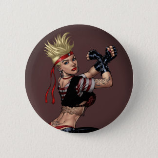 Tough Blond Punk Girl - Ready To Fight by Al Rio Button