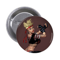drawing, girl, punk, rock, yin, yang, leather, fight, boots, goth, woman, blond, al rio, Button with custom graphic design