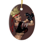 Tough Blond Punk Girl - Ready To Fight by Al Rio Ceramic Ornament
