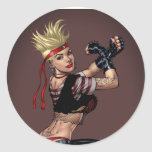 Tough Blond Punk Girl - Ready To Fight by Al Rio Classic Round Sticker