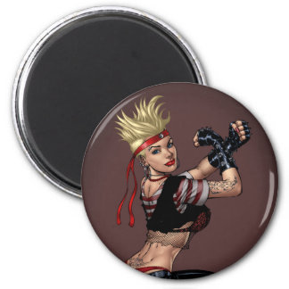 Tough Blond Punk Girl - Ready To Fight by Al Rio Refrigerator Magnet