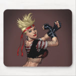 Tough Blond Punk Girl - Ready To Fight by Al Rio Mouse Pad